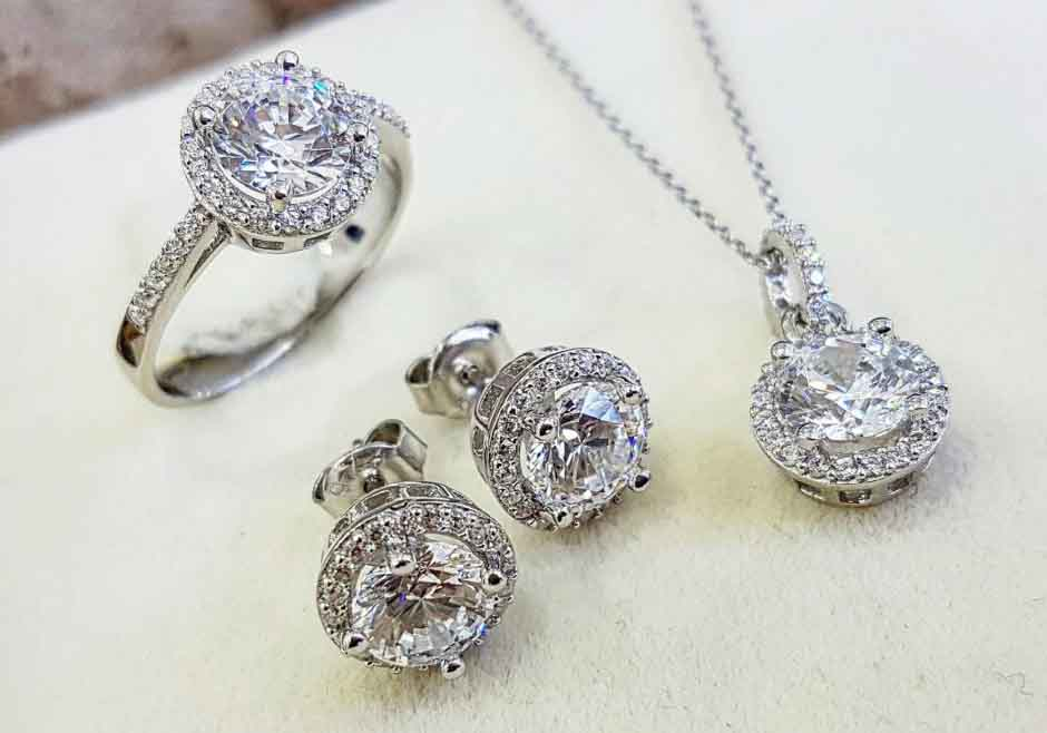 Swarovski Crystals Sterling Silver Set