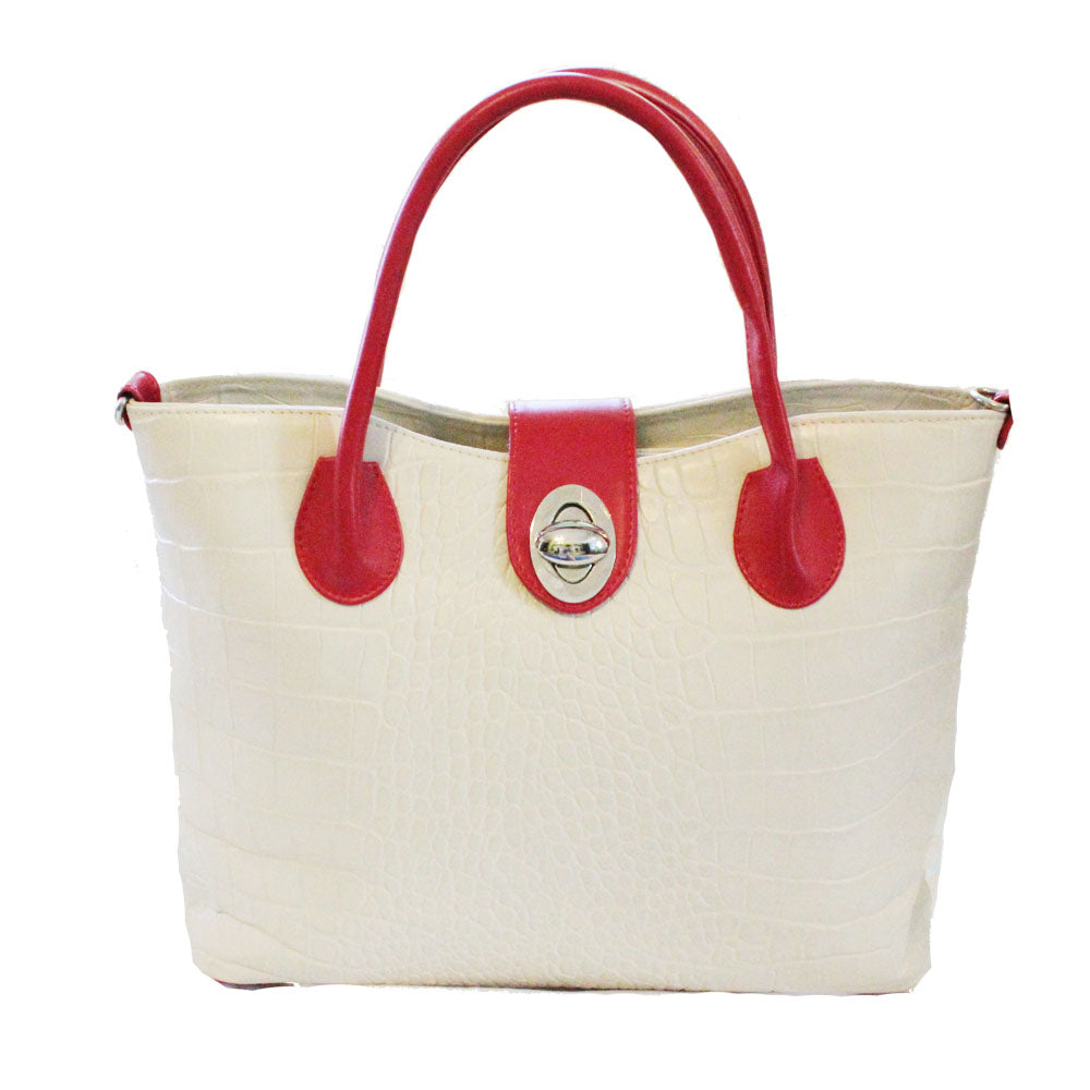 Women's genuine leather bag in white and red colours