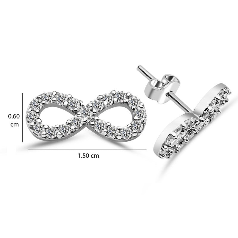 Infinity Sterling Silver stud Earrings CZ Crystals