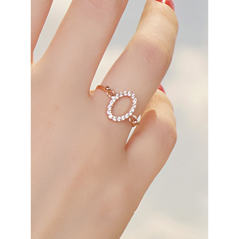 Trend Circle Sterling Silver Ring Dipped in Rose Gold