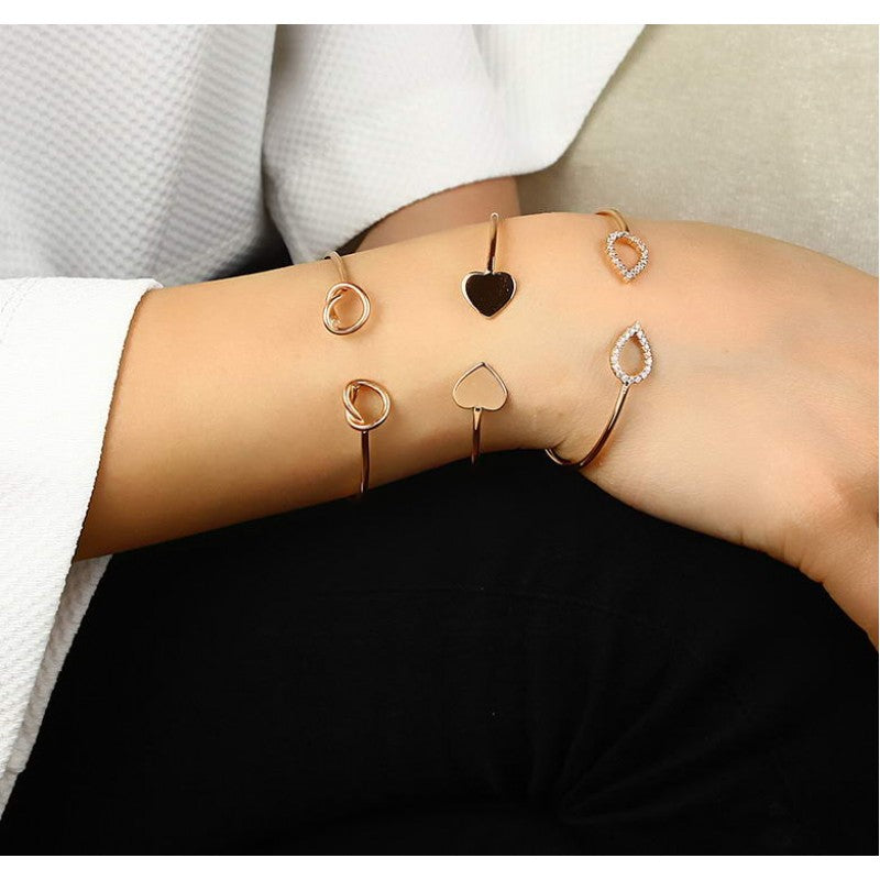 Trend Heart Sterling Silver Bracelet Dipped in Rose Gold