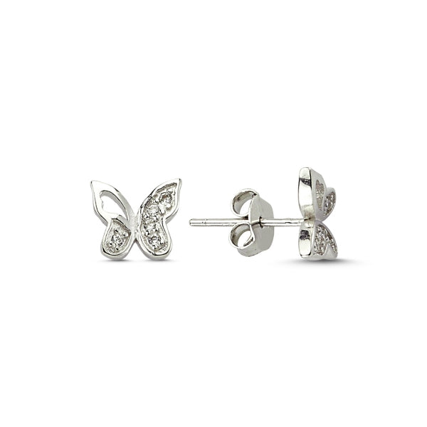 Butterfly Sterling Silver stud Earrings CZ zirconia Crystals