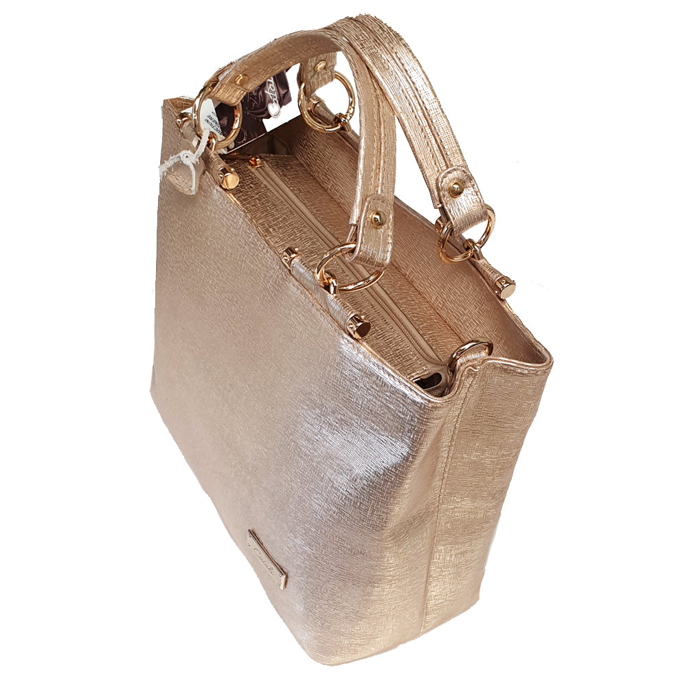 Women's genuine leather bag gold colour