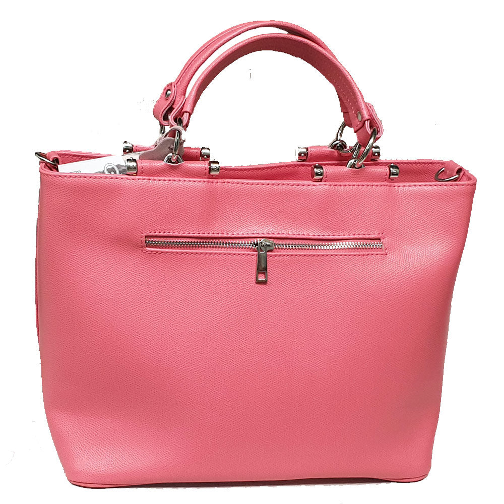 Women's genuine leather bag with pink colour