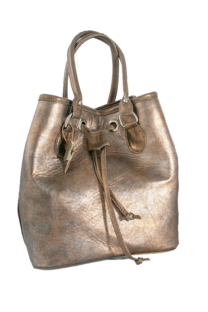 Women's genuine leather bag in bronz colour