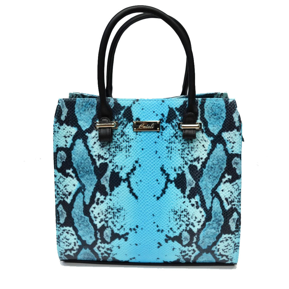 Women's genuine leather bag turquoise snake pattern