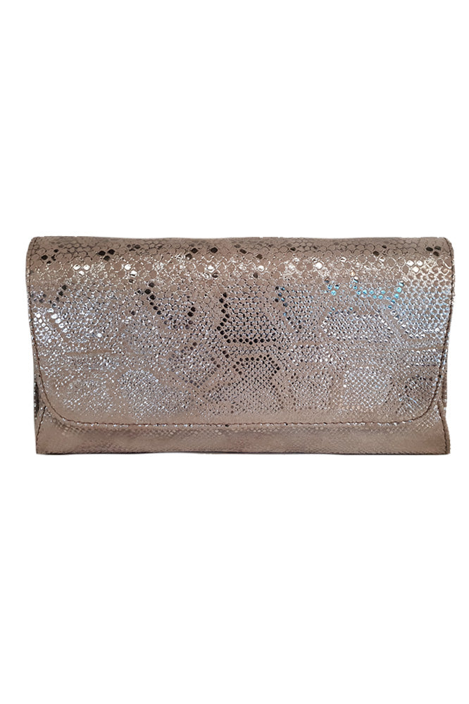 Women's genuine leather envelope purse in beige gold colour