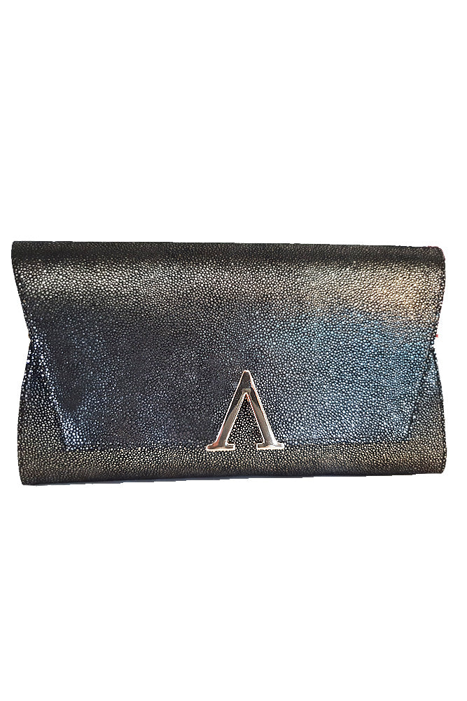 Women's genuine leather envelope purse in black gold colour