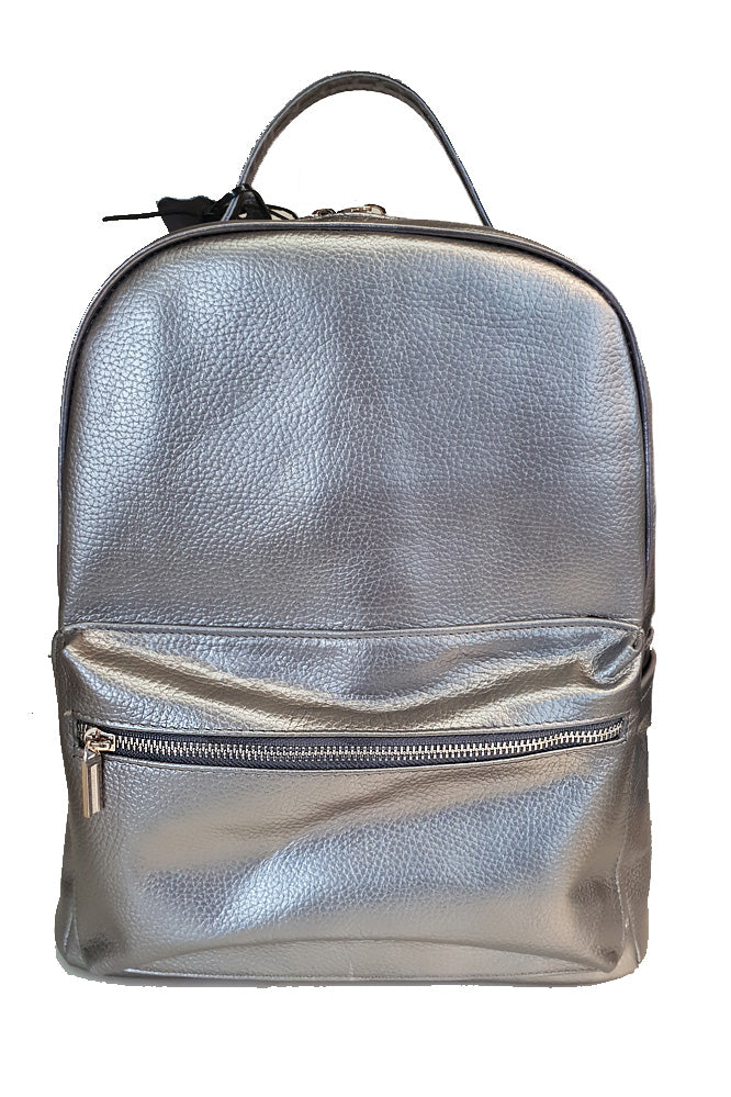 Women's genuine leather backpack in silver colour
