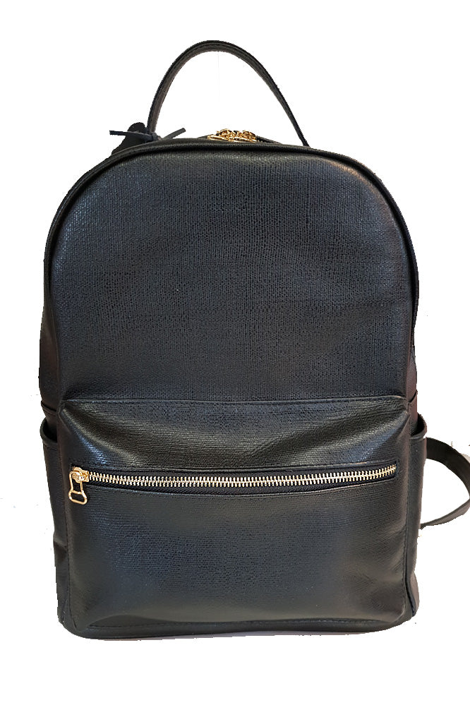 Women's genuine leather backpack in black colour