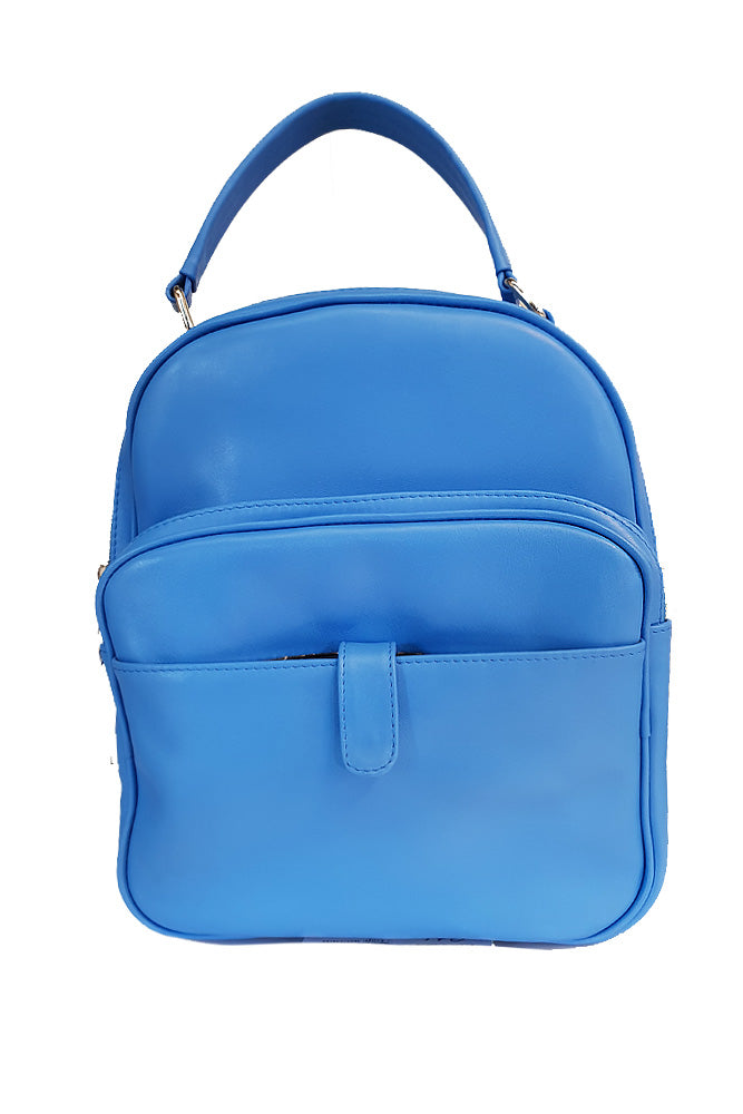 Women's genuine leather backpack blue colour
