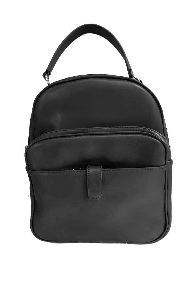 Women's genuine leather backpack black colour
