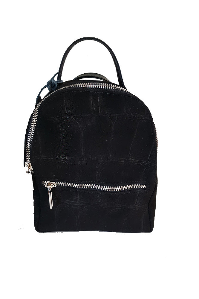 Women's genuine leather backpack in black colour small