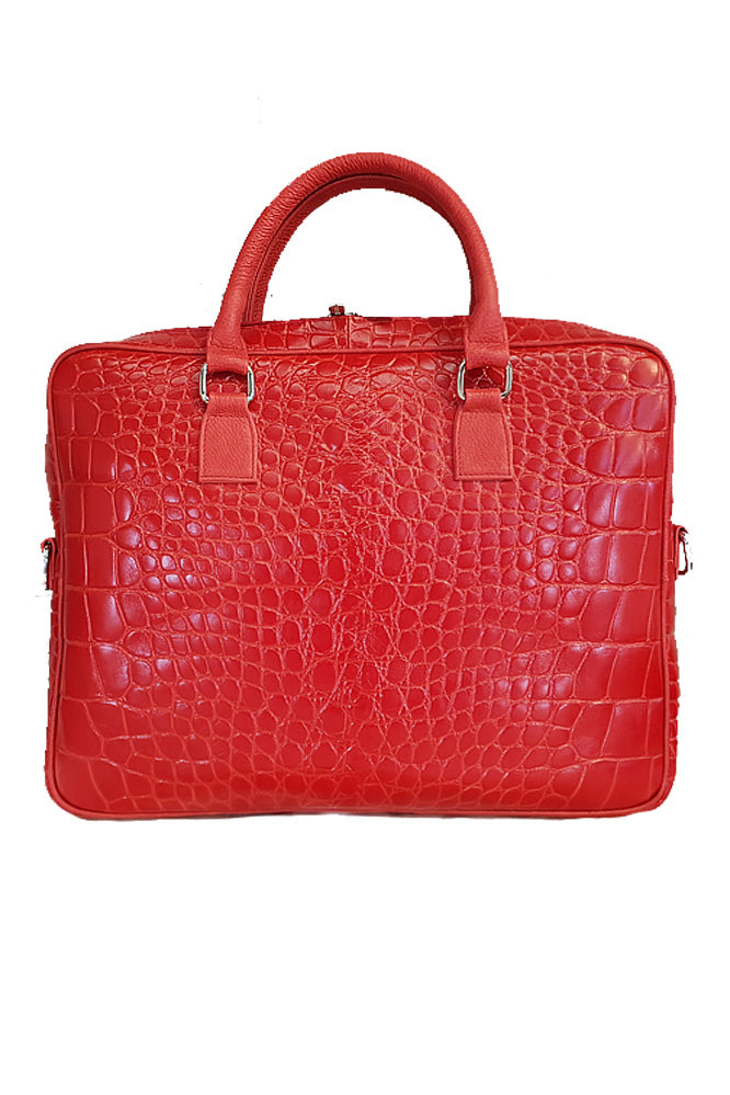 Women genuine leather bag in red colour for laptop