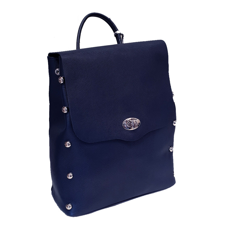 Women's genuine leather backpack in navy blue colour