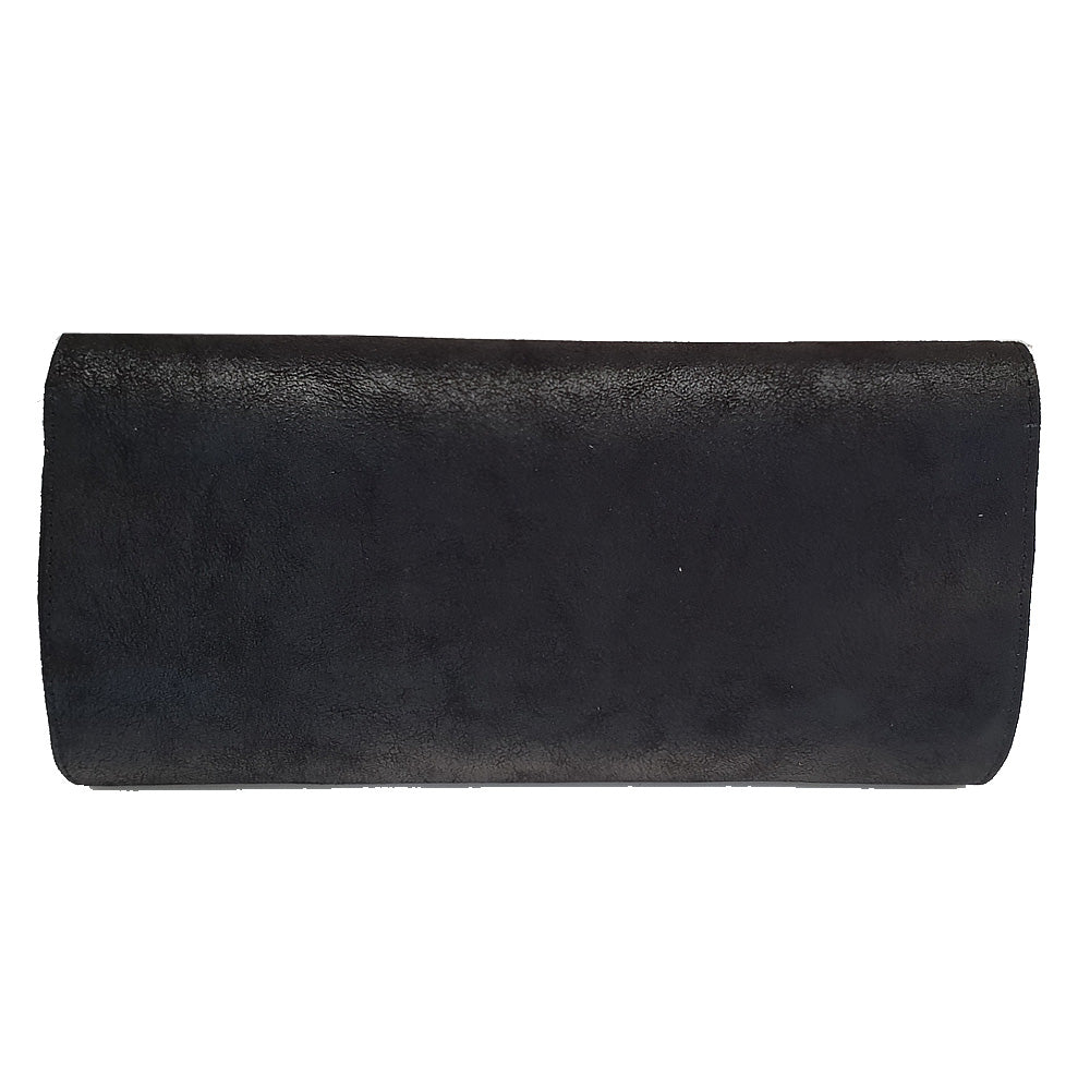 Women's genuine leather envelope purse in black colour suede