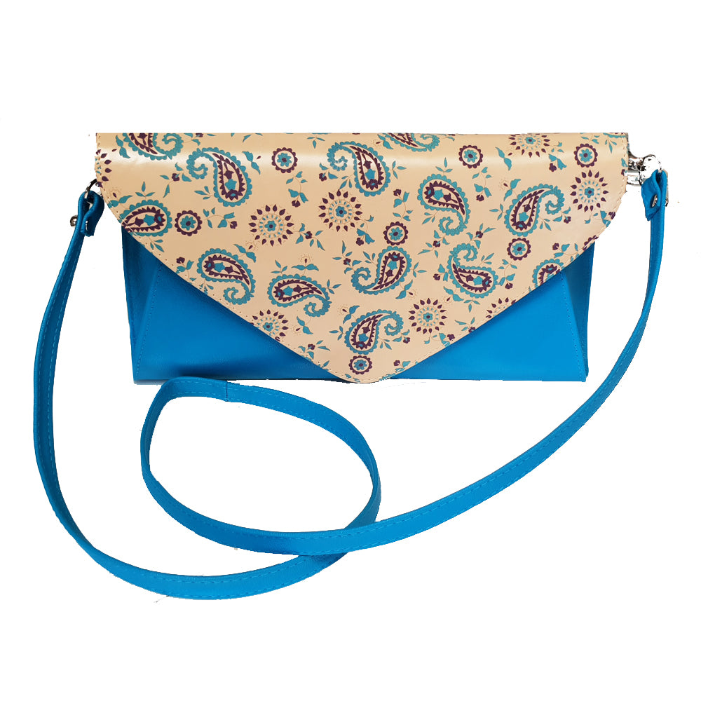 Women's genuine leather envelope purse in beige blue colour