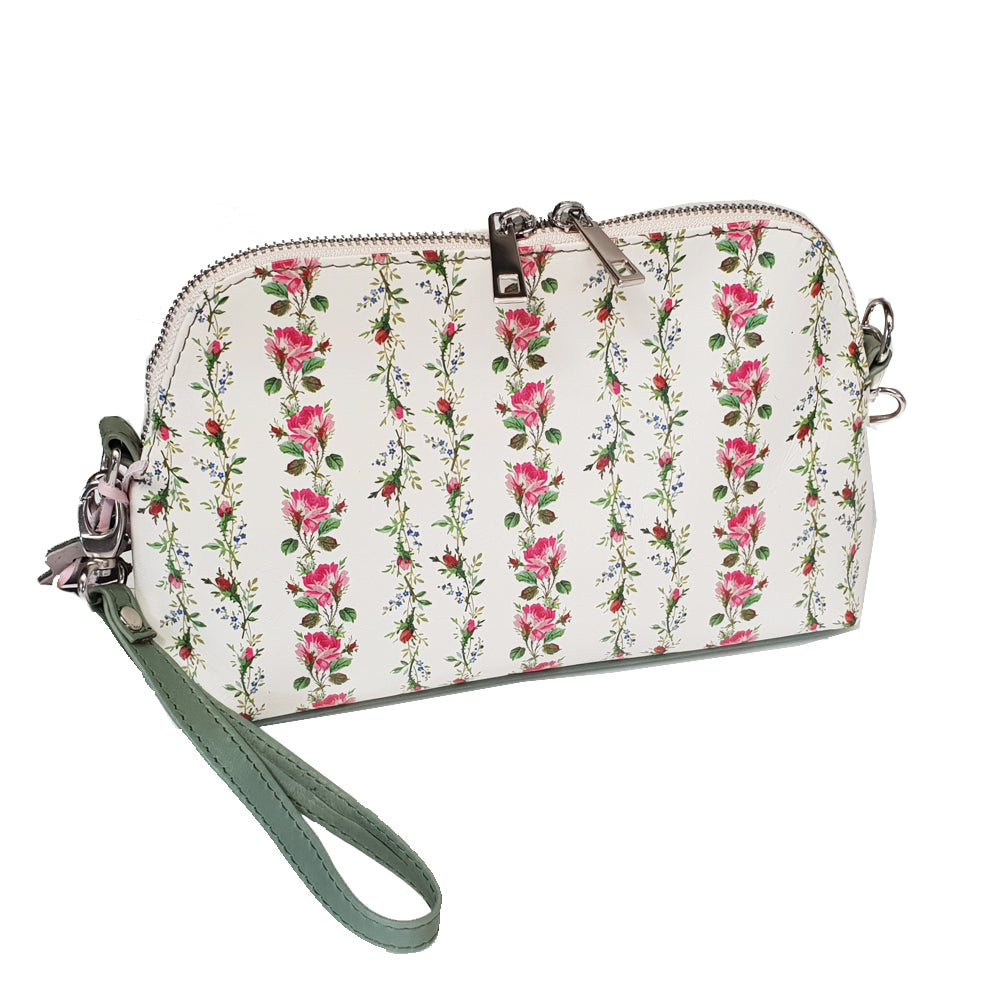 Women's genuine leather bag in white colour with flowers