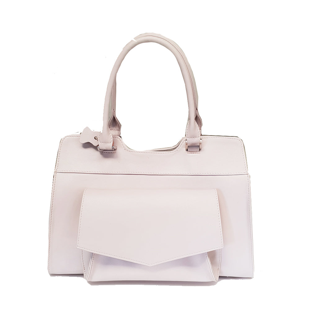 Women's genuine leather bag in white colour