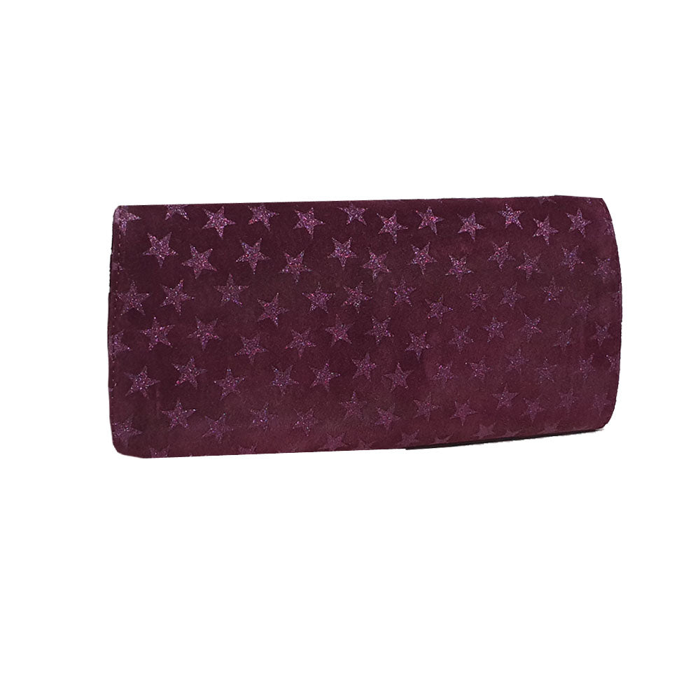 Women's genuine leather envelope purse in cherry colour with stars