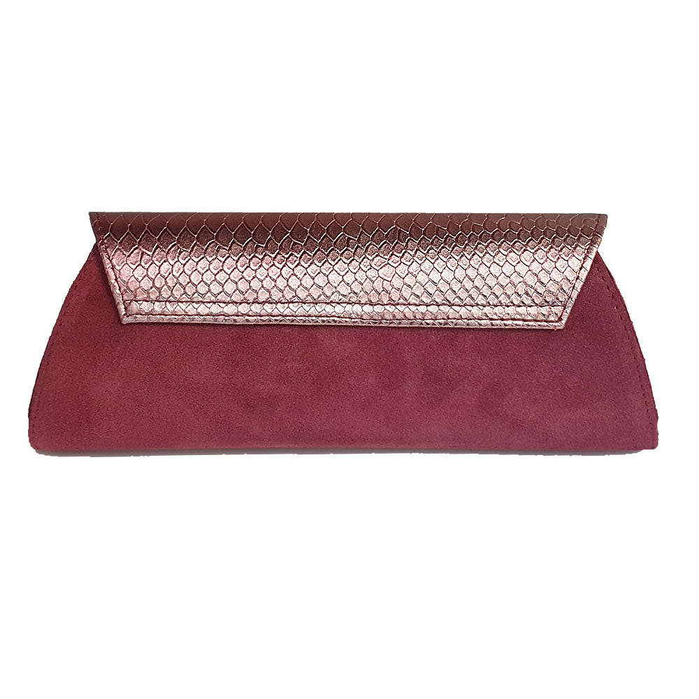 Women's genuine leather envelope purse cherry snake pattern