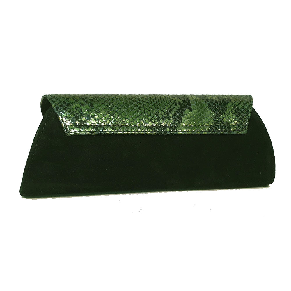 Women's genuine leather envelope purse green snake pattern