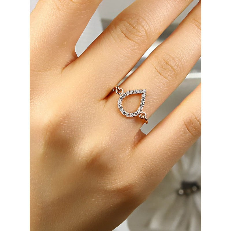 Trend Drop Sterling Silver Ring Dipped in Rose Gold
