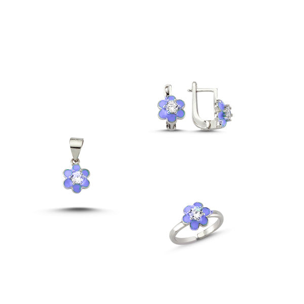 Kids Sterling Silver Flower Set