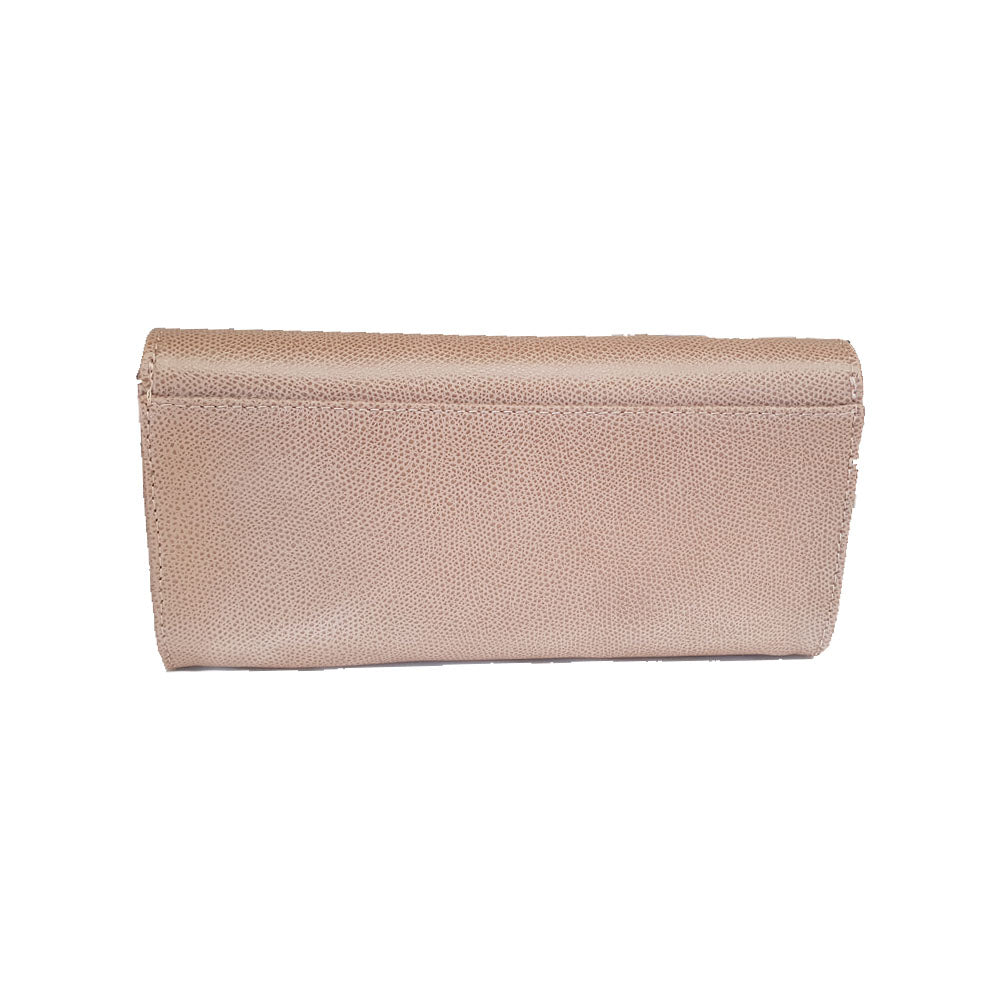 Women's genuine leather wallet in beige colour