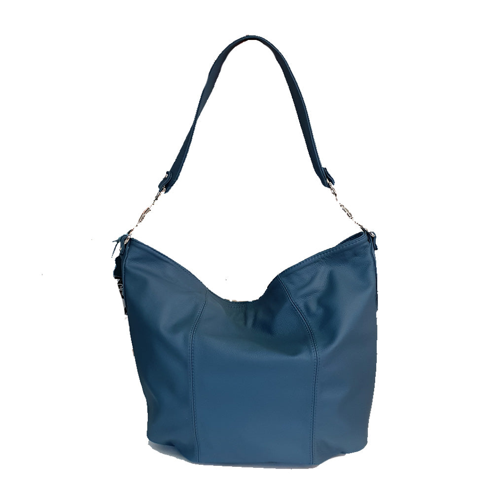 Women's genuine leather bag with in blue colour
