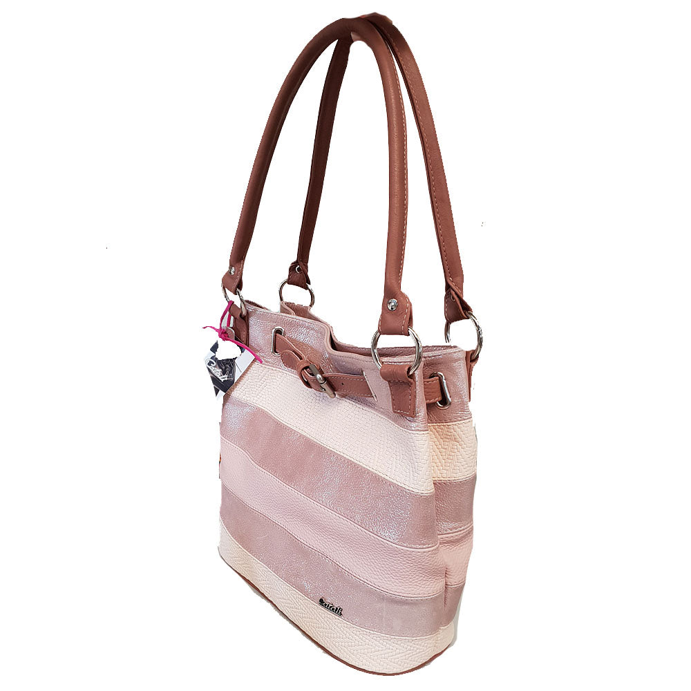 Women's genuine leather bag in pink colour