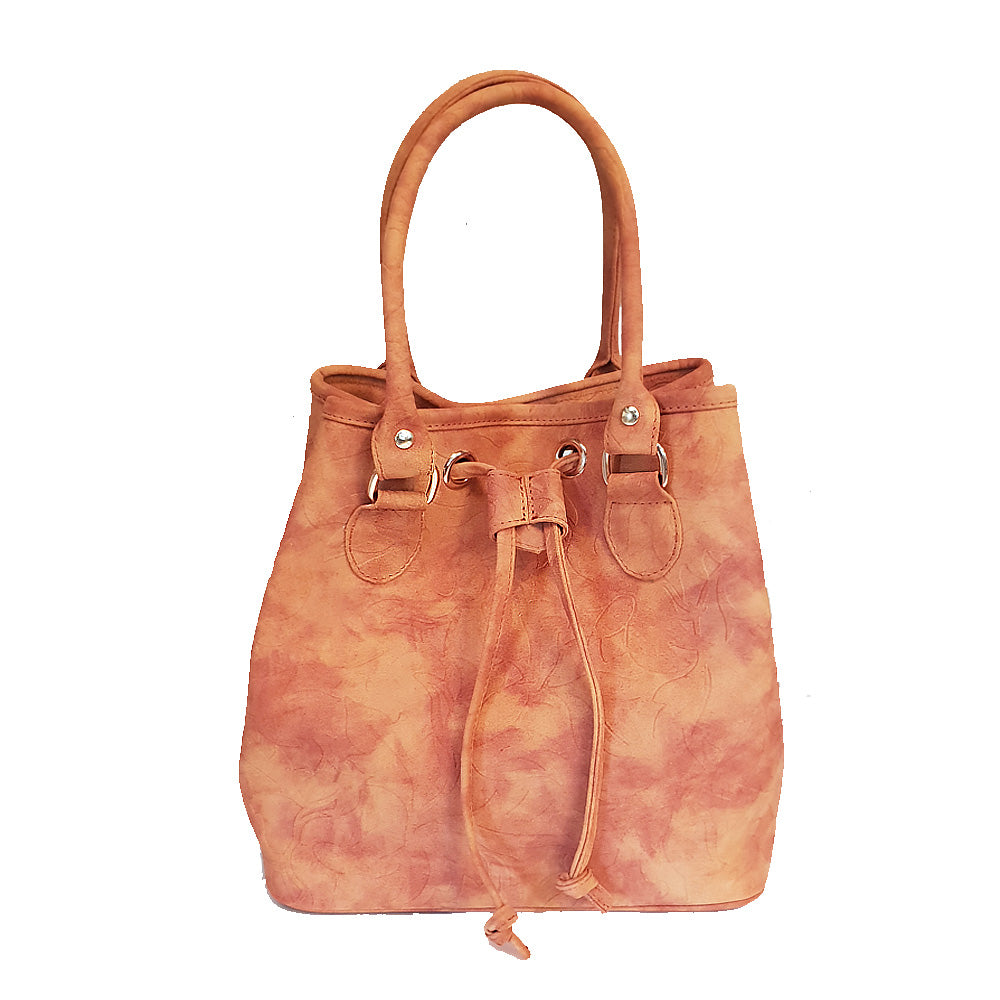 Women's genuine leather bag in brown suede colour
