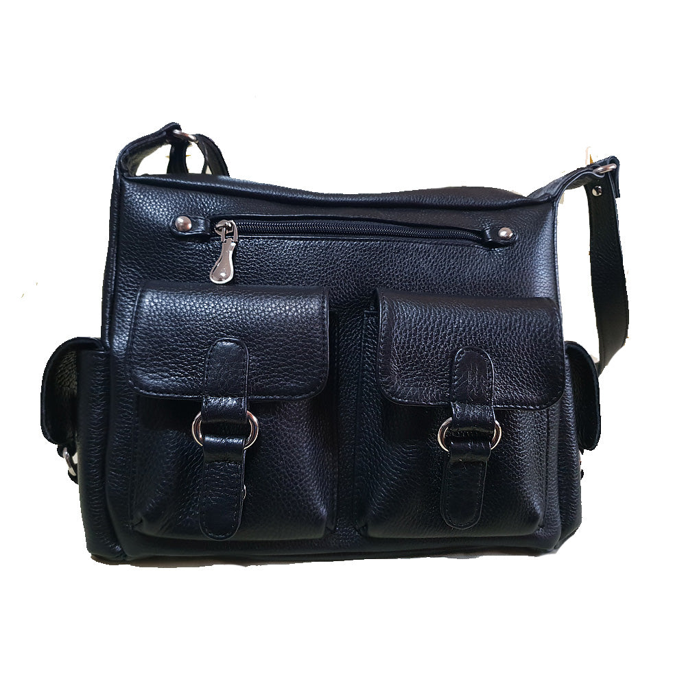 Women's genuine leather bag in black mate colour