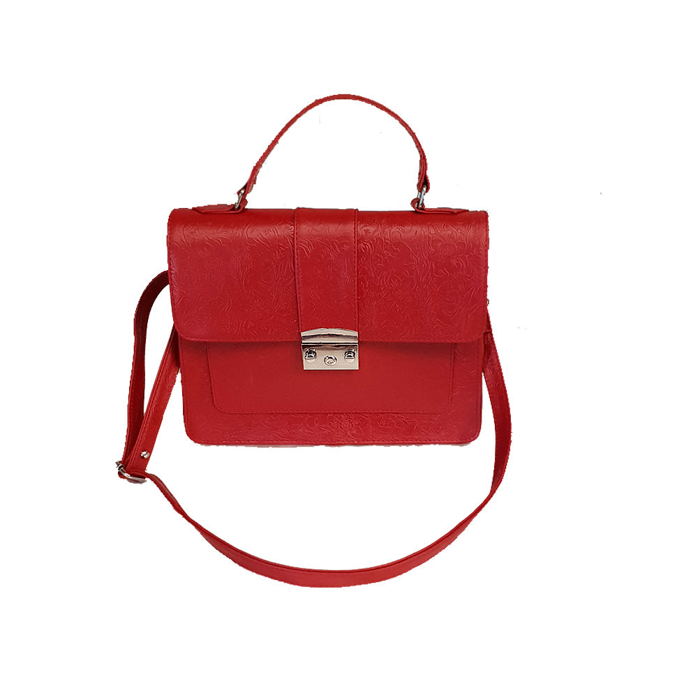 Women's genuine leather bag with red colour