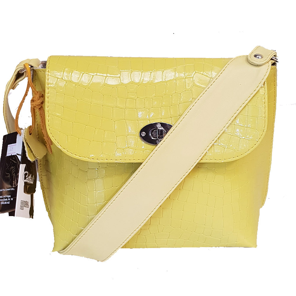 Women's genuine leather bag with yellow colour