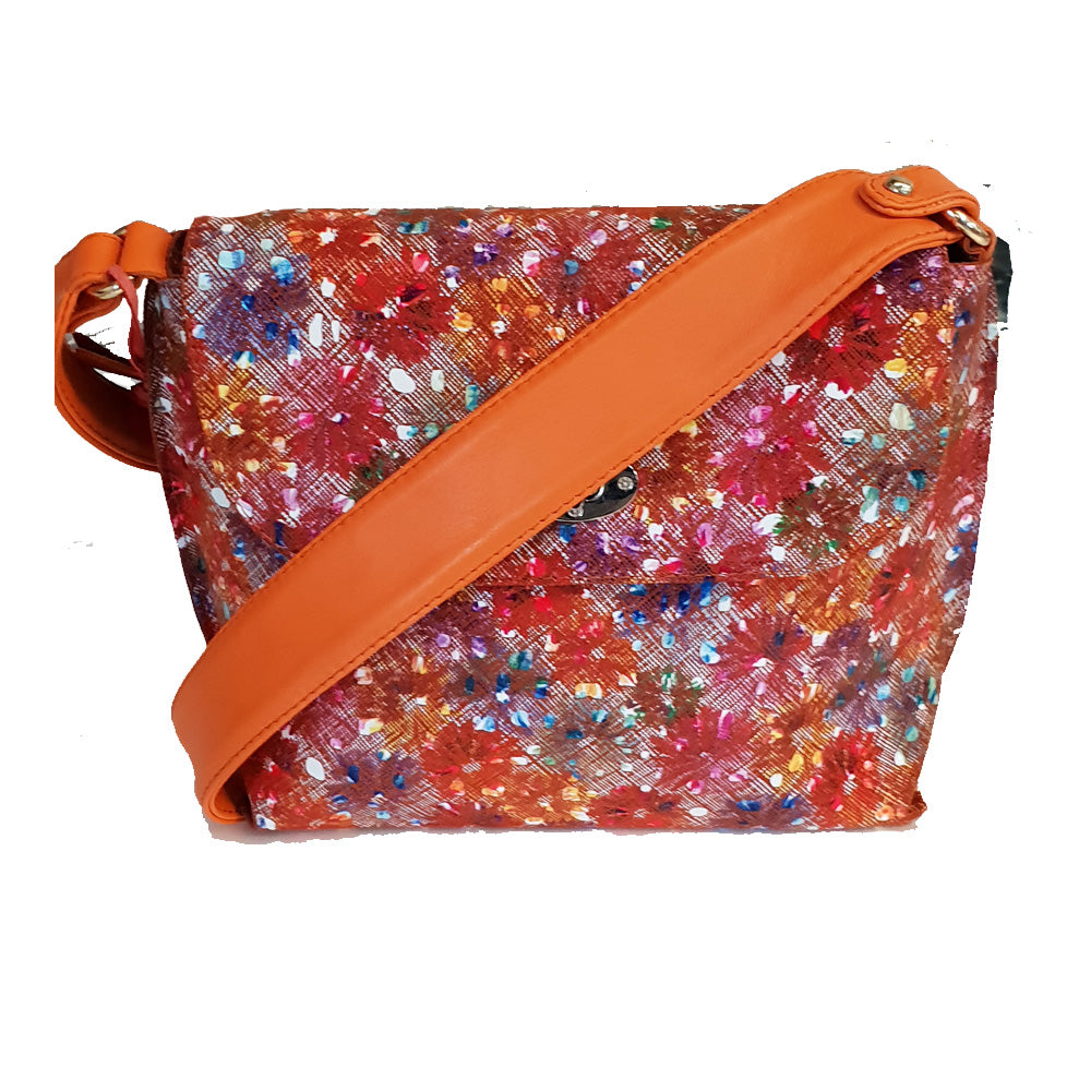 Women's genuine leather bag with multicoloured