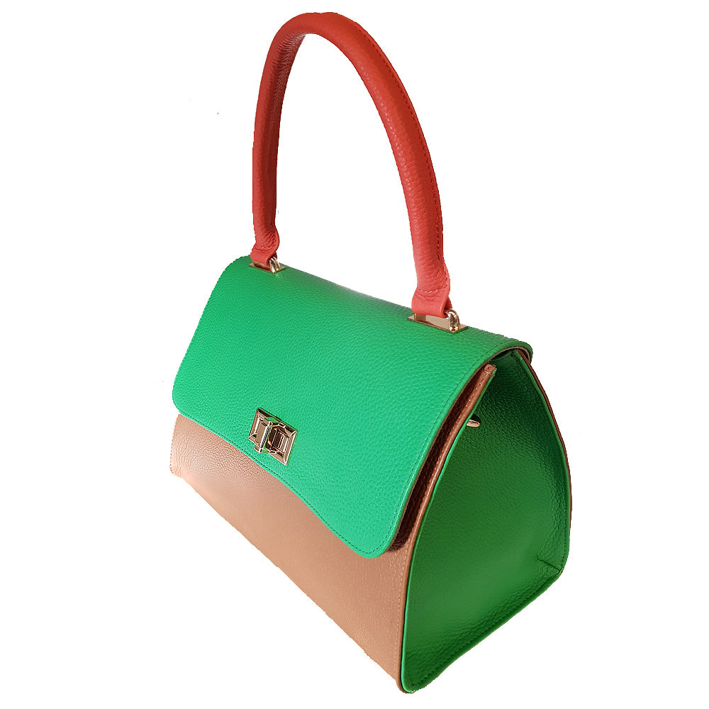 Women's genuine leather bag in red green brown colour