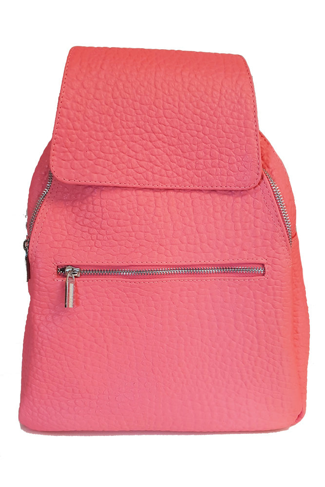 Women's genuine leather backpack in pink colour