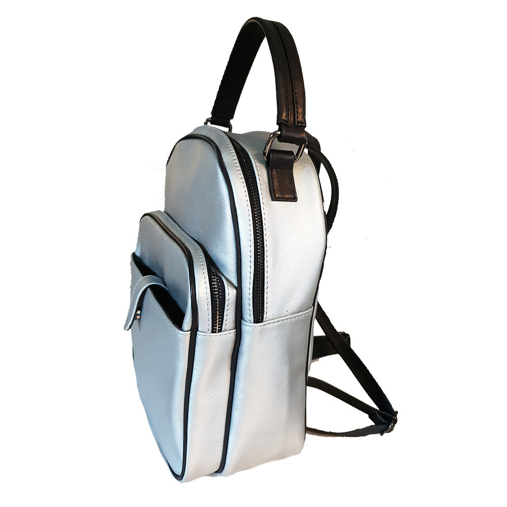 Women's genuine leather backpack silver colour