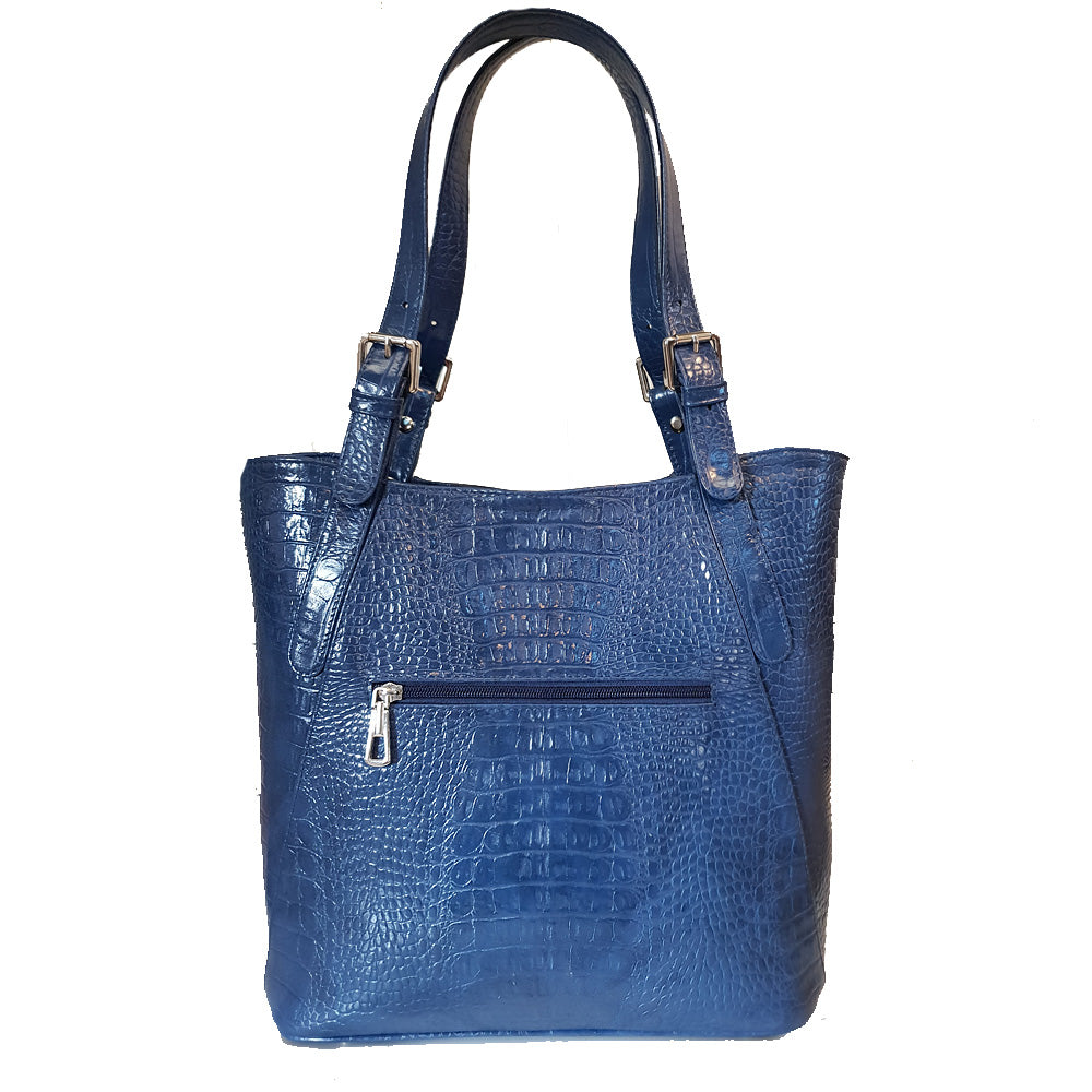 Women's genuine leather bag in blue colour croco design
