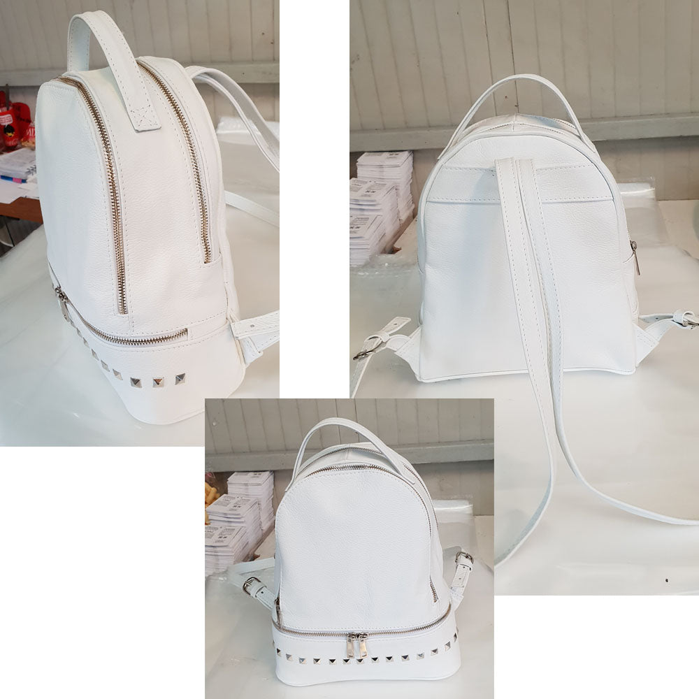 Women's genuine leather backpack in white colour