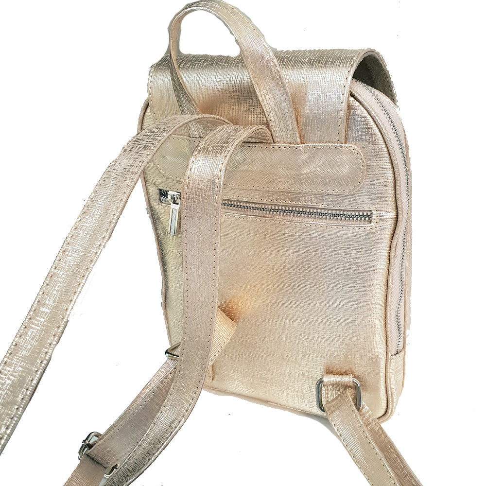 Women's genuine leather backpack in gold colour