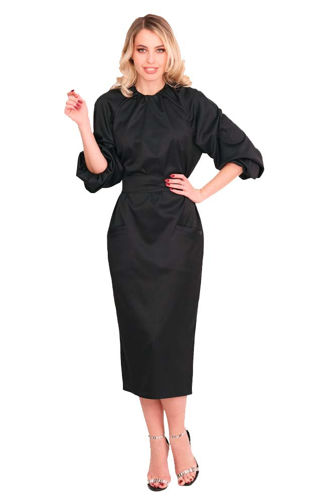 Cocktail long dress cotton black