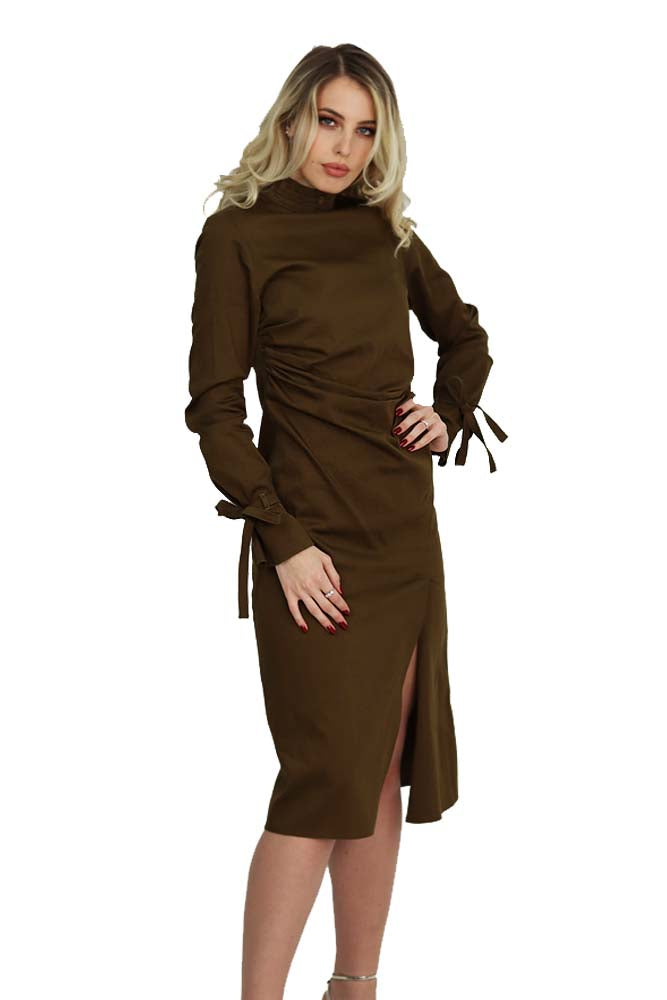 Casual - Cocktail long dress cotton brown