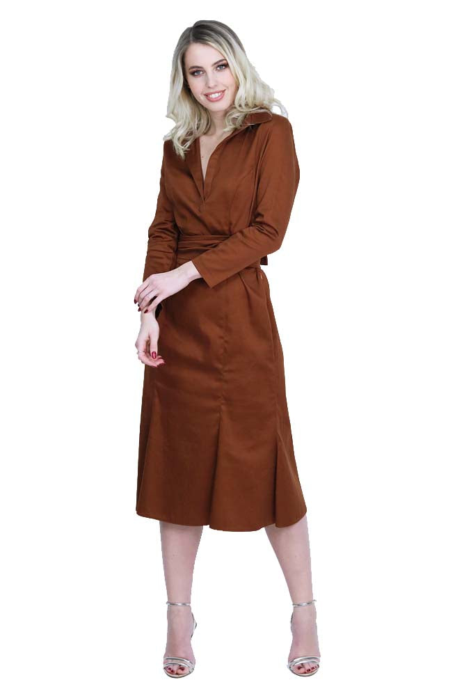 Casual - Cocktail long dress cotton chocolate