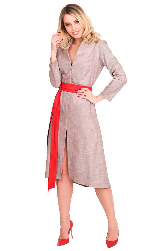 Office - Casual dress cotton grey