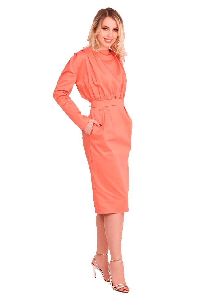 Cocktail long dress cotton orange