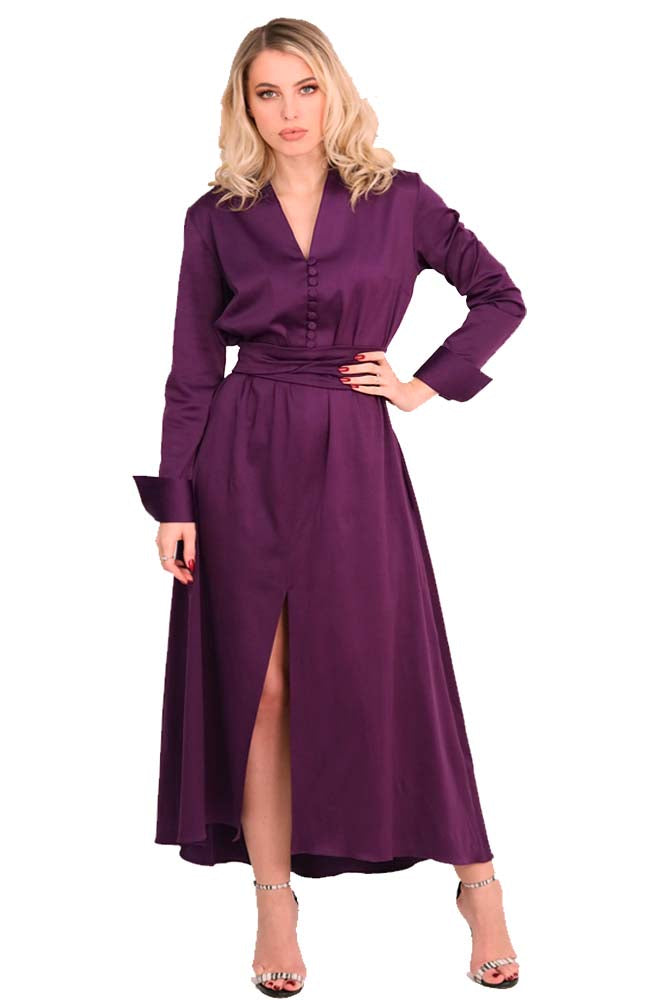 Casual - Cocktail long dress cotton purple