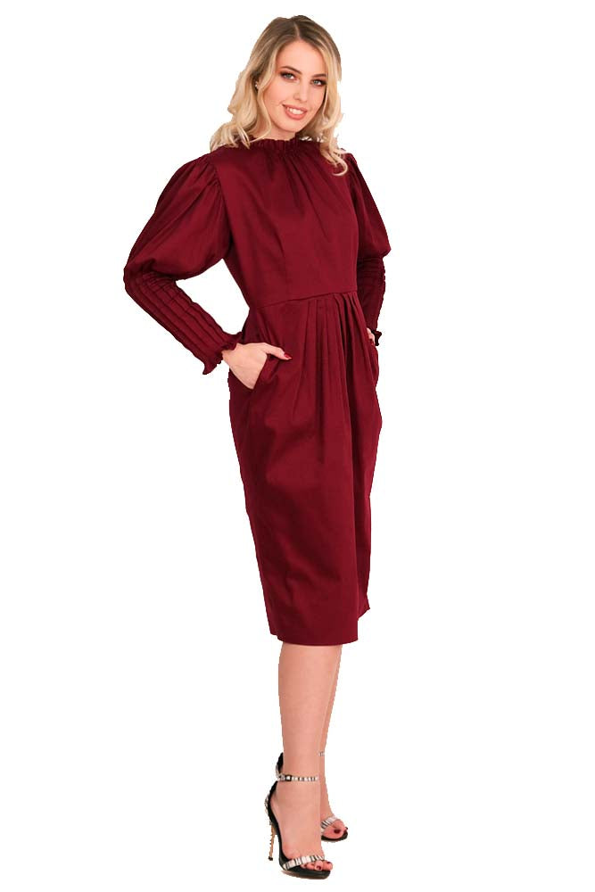 Casual - Cocktail long dress cotton claret