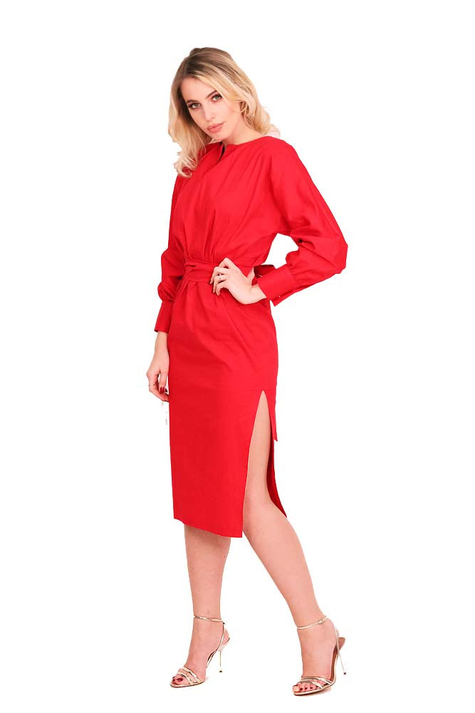Cocktail long dress cotton red
